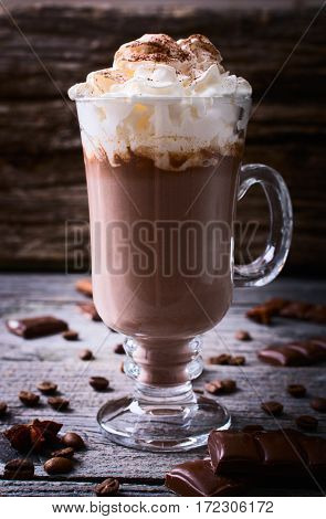 Hot chocolate garnished with whipped cream and cocoa powder