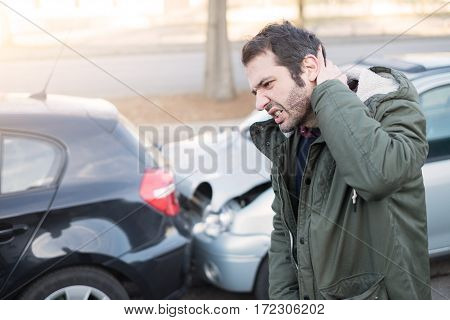 Man Feeling Bad After One Car Crash Accident