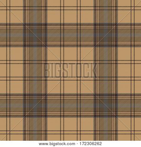 Tartan brown beige seamless fabric texture. Vector illustration.