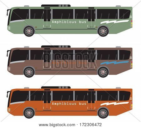 Set Of Amphibian Bus Or Land And Water Touring