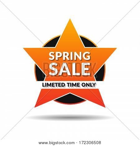 Spring Sale off sticker, banner, Orange gradient emblem sale isolated on white background. Big sale, special offer, discounts. Vector illustration.