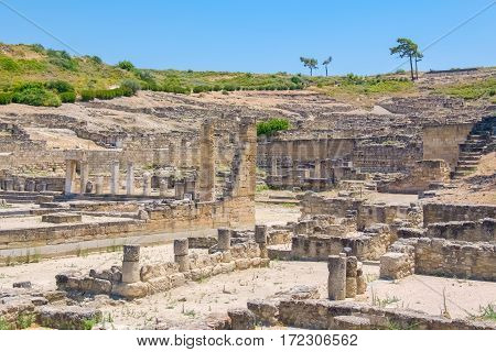 Archaeological site of ancient town. Kamiros Rhodes Island Greece