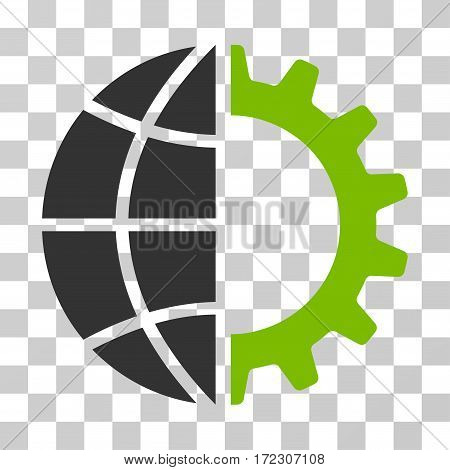 Global Industry vector pictograph. Illustration style is flat iconic bicolor eco green and gray symbol on a transparent background.