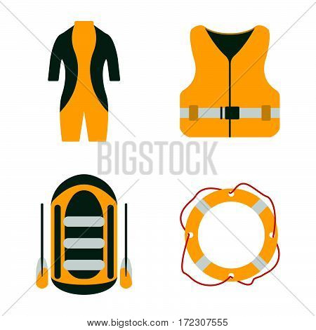 Diving Suit, Life Jacket, Raft, Lifebuoy Flat Icons. Tourism Equipment. Trip Web Elements. Vector Il