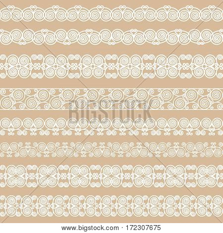 Set of white borders isolated on a beige background