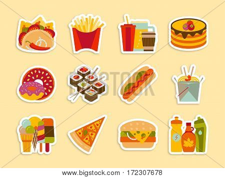 Fastfood and streetfood stickers set. Vector illustration.