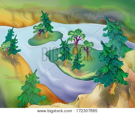 Small Islands on a River with Trees in a summer day. Digital Painting Illustration of a white stratus clouds under a blue sky.
