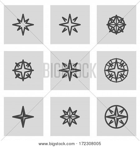 Vector line wind rose icons set on grey background
