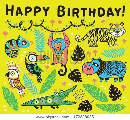 Happy birthday. Vector tropical card with crocodile, tiger, monkey and toucan, hippopotamus, chameleon in cartoon style