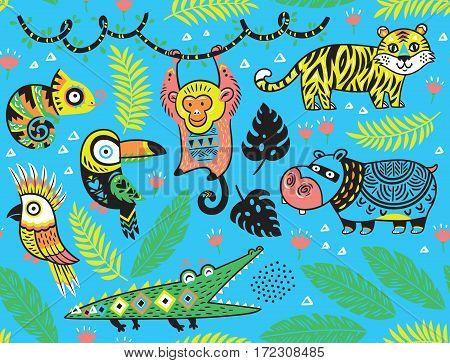 Tropical seamless background with crocodile, tiger, monkey and toucan, hippopotamus, chameleon in cartoon style. Vector illustration.