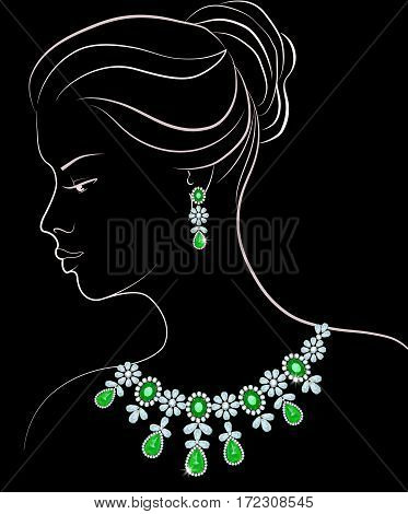 Sketch of woman with earrings and necklace of diamonds and emeralds