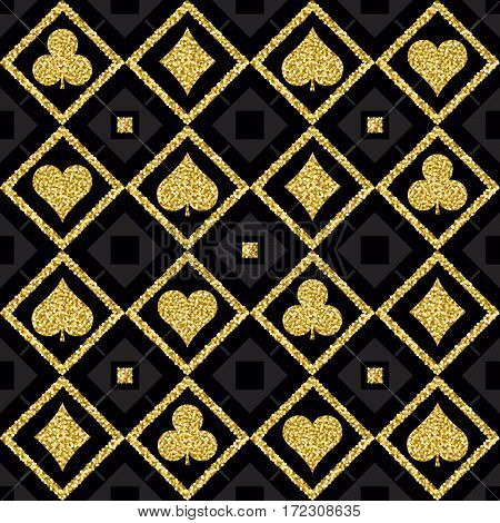 Seamless casino gambling poker background with golden symbols vector illustration. Ideal for printing onto fabric and paper or scrap booking