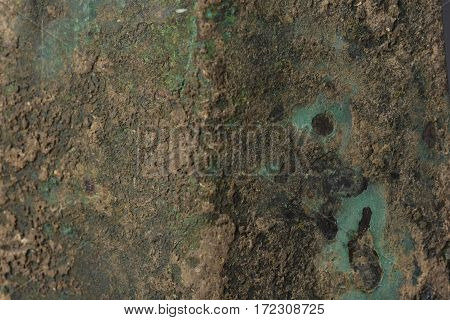 Green Patina metal texture background and Copy Space