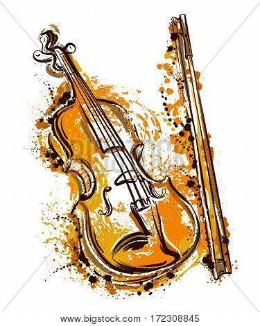 Violin in watercolor style. Vintage hand drawn vector illustration