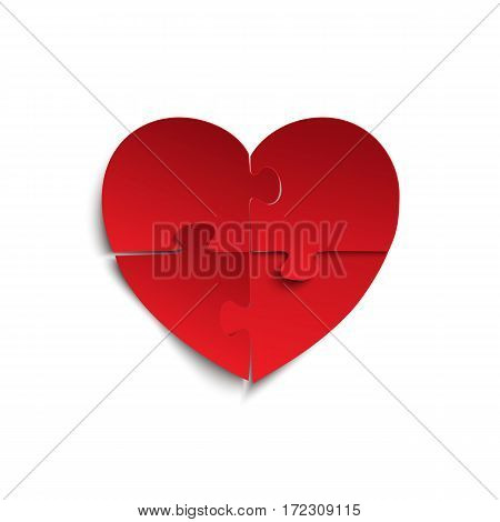 Jigsaw puzzle pieces in form of red heart, isolated on white background. Brochure, greeting card or invitation template. Vector illustration.