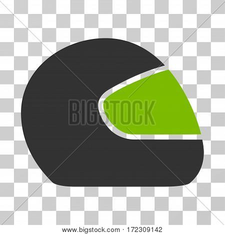 Motorcycle Helmet vector pictogram. Illustration style is flat iconic bicolor eco green and gray symbol on a transparent background.