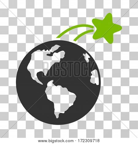 Rising Satellite On Earth vector pictograph. Illustration style is flat iconic bicolor eco green and gray symbol on a transparent background.