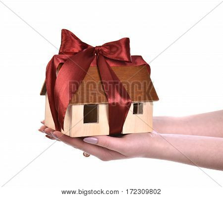 Image Of Woman Hands Holding Wooden House