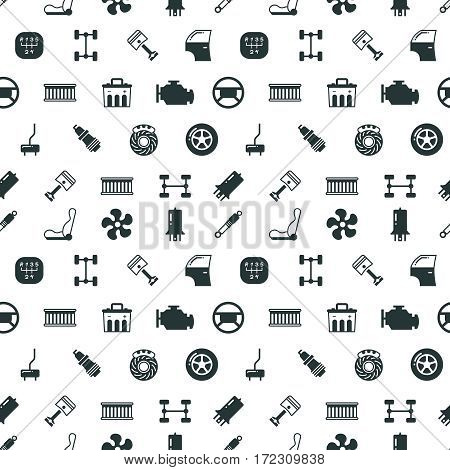 Car spare parts vector seamless pattern with automobile spare part spark and steering wheel, illustration of black silhouette car parts
