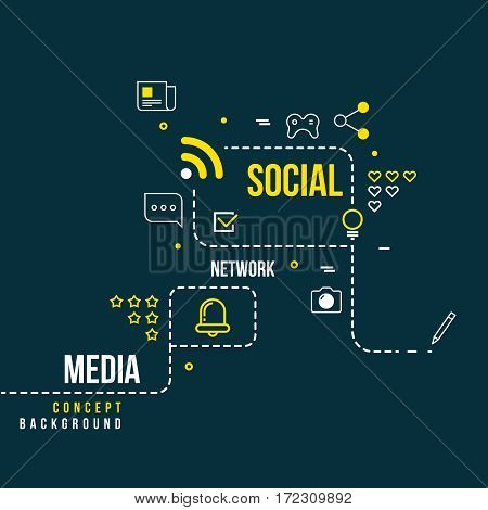 Abstract social community network, interactive media vector concept. Scheme of social network, illustration of media network
