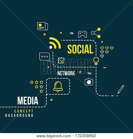 Abstract social community network, interactive media vector concept. Scheme of social network, illustration of media network