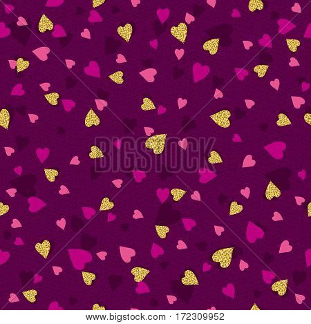 Purple seamless background with golden and pink valentine hearts vector illustration. Ideal for printing onto fabric and paper or scrap booking