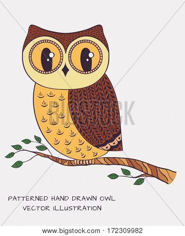 Patterned hand drawn owl isolated on white background. Vector illustration.