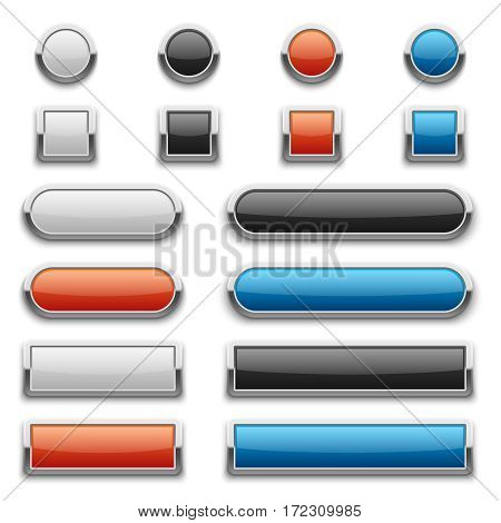 Vector red, blue, black and white glossy buttons with shiny metal frame. Illustration of design metal button, set of glossy buttons for web design