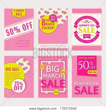 Women's Day and spring sale. Set of banners flyers or labels. Cards with polka dot and floral patterns. Discount templates. Vector collection.