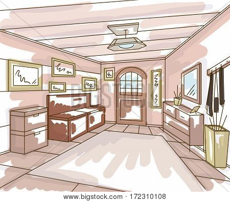 Entrance hallway interior with storage furniture, pictures and bench in watercolor style. Vintage hand drawn vector illustration in sketch style