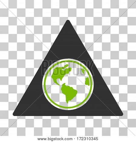 Terra Triangle vector pictograph. Illustration style is flat iconic bicolor eco green and gray symbol on a transparent background.