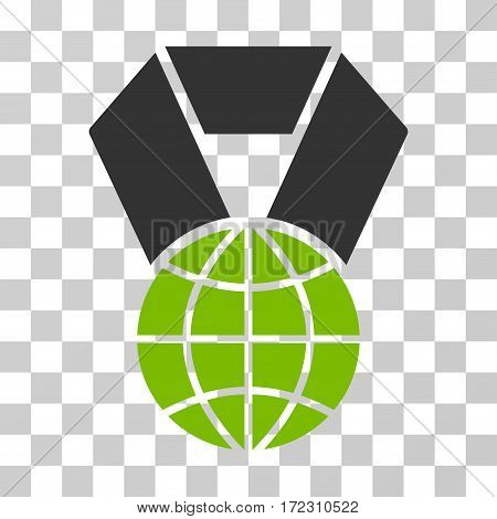 World Award vector pictogram. Illustration style is flat iconic bicolor eco green and gray symbol on a transparent background.