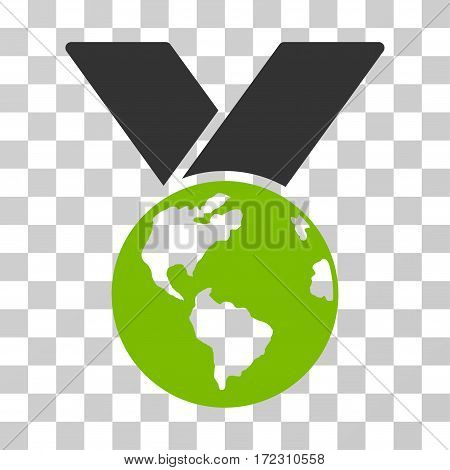 World Medal vector pictogram. Illustration style is flat iconic bicolor eco green and gray symbol on a transparent background.
