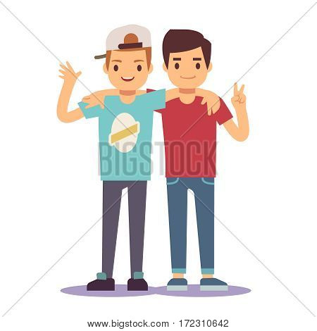Adult guys, men, two best friends. Friendship vector concept. Happy friends two man, illustration of friendly hug