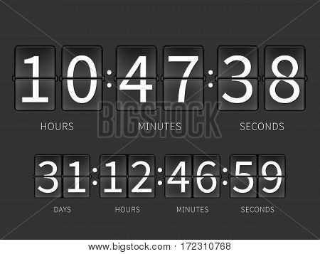 Flip countdown timer, hourly schedule. Vector time panel for airport, illustration of flip timer with days and hours