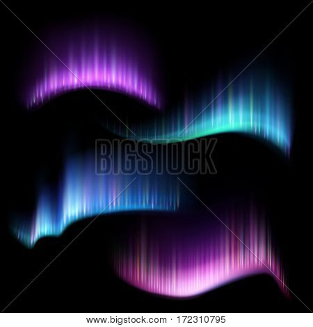 Northern aurora lights strips, aurora borealis vector set. Illustration of rare natural phenomenon aurora borealis