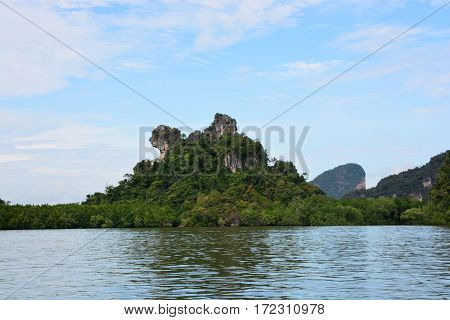 Khao Maju (A Chow Mountain) A mountain of moderate height nestled amidst mangrove forests near Panyi Canal looking like a chow.