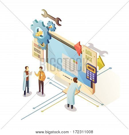 Database isometric design with staff and computer equipment for security storage and analysis of information vector illustration