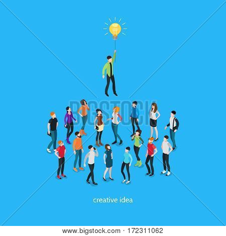 Idea isometric template with people and unique creative person in crowd on blue background isolated vector illustration