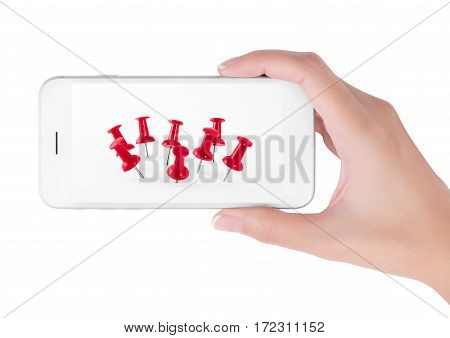 Woman using smart phone searching close up red push pins group. Outstanding and office equipment concept isolated on white background.