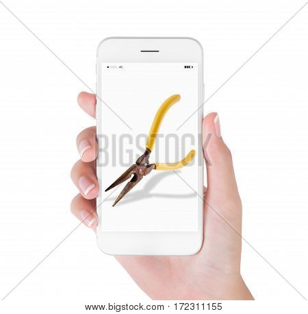 Woman using smart phone searching old pliers whit rust tool suppliers concept isolated white background.