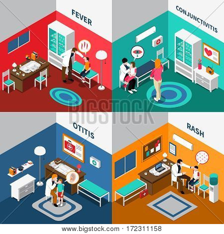 Child diseases colorful isometric compositions including kids with fever rash otitis conjunctivitis and pediatricians isolated vector illustration