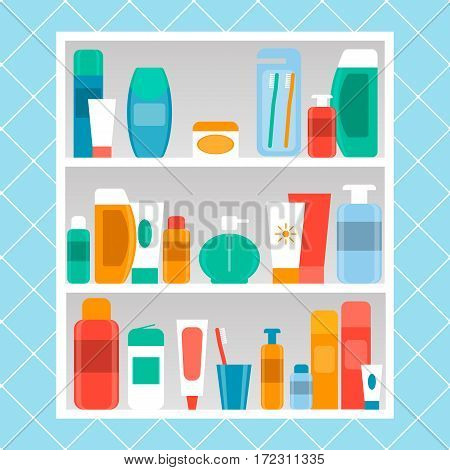 shelf in the bathroom vector illustration. cosmetics care products. flat style.