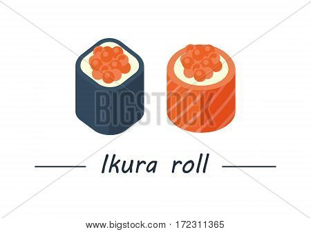 Ikura maki. Sushi rolls set icons. Vector illustration. Flat style