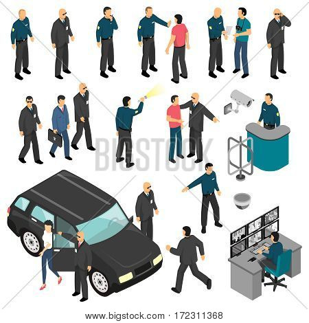 Security isometric set with personal guards and professional equipment checkpoint and surveillance system isolated vector illustration