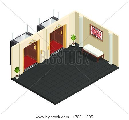 Elevator hall isometric interior composition with two lift lobby of hotel luxury style adornments and furniture vector illustration