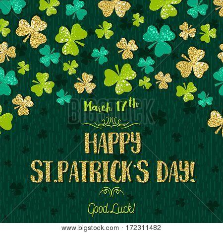 Green card for Patricks day with golden shamrock vector illustration