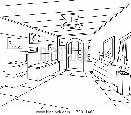Entrance hallway interior with storage furniture, pictures and bench. Vintage hand drawn vector illustration in sketch style