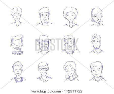 Hand drawn people characters, portrait, avatars vector sketch. Collection of man and woman portrait doodle drawing, illustration of portrait painted pen