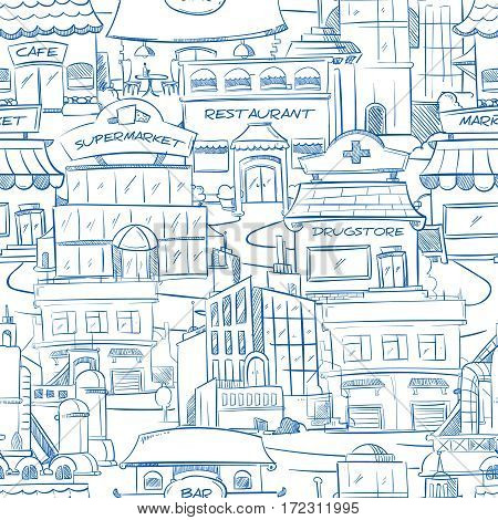 City with hand drawn buildings vector doodle urban panorama seamless background. Panorama of street with restaurant and cafe, building of supermarket and drugstore on street illustration